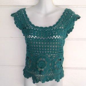 Pins and Needles Crochet Crop Knit Top Small